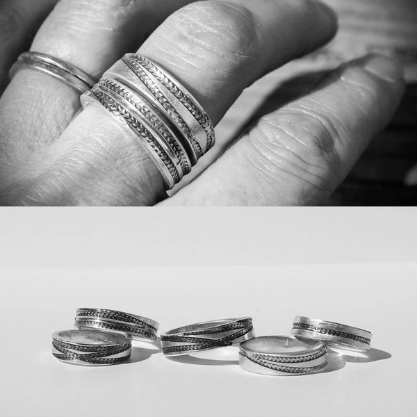 Tire Track Ring in Silver