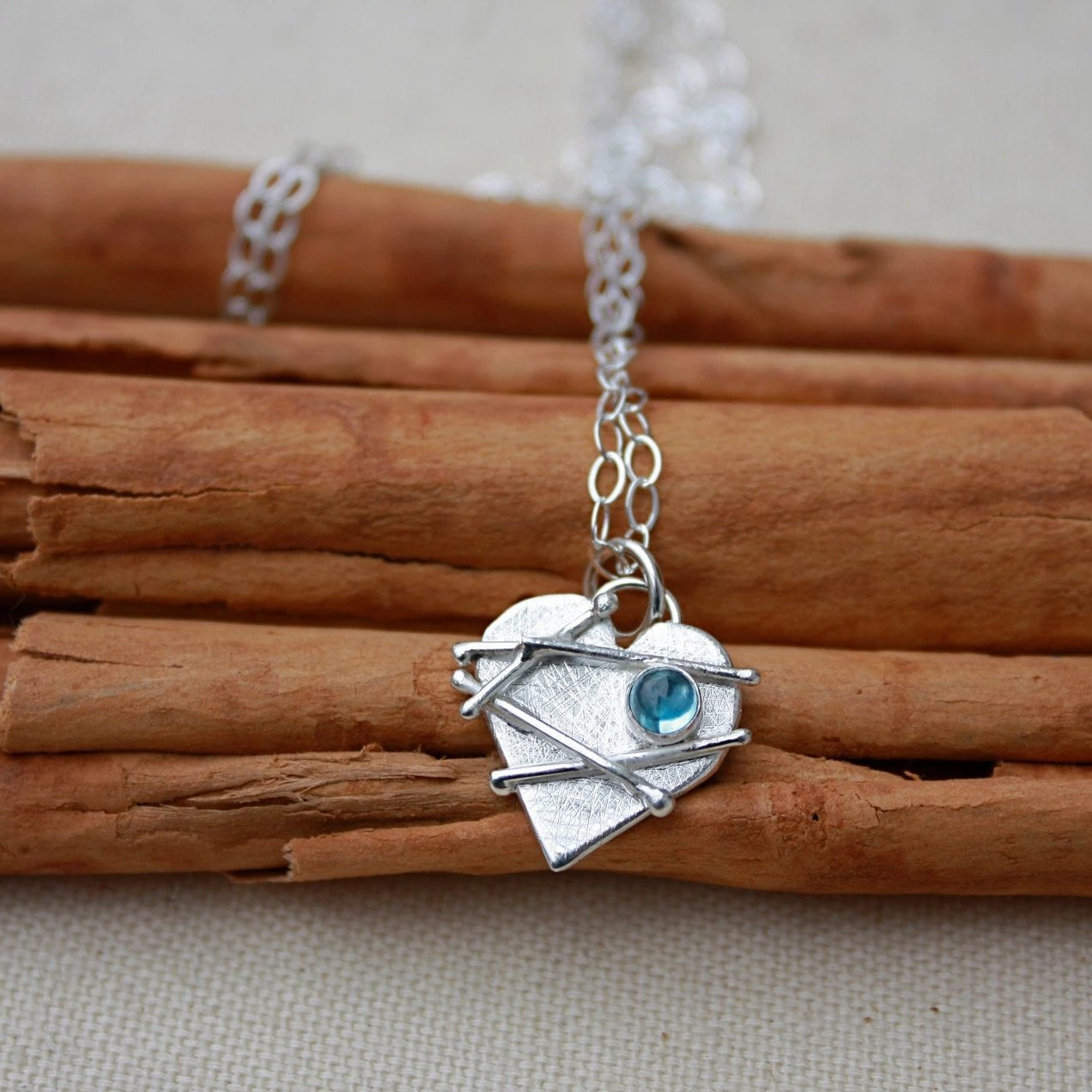 Small Mended Heart with Blue Topaz