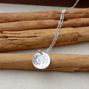 Sterling Silver Disc with Dots Design Necklace