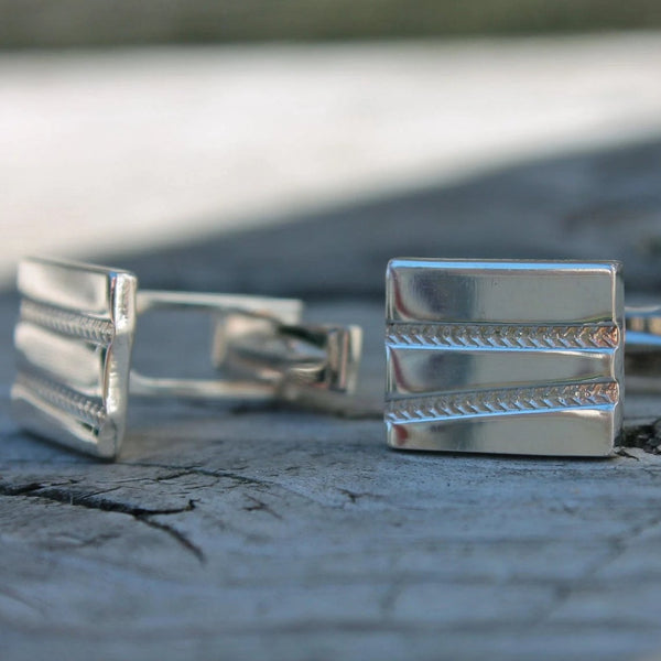 Tire Track Design Cuff Links in Silver