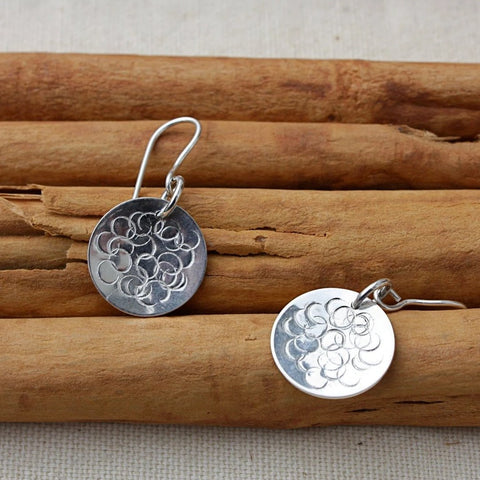 Silver Circles Discs with Dot design earrings
