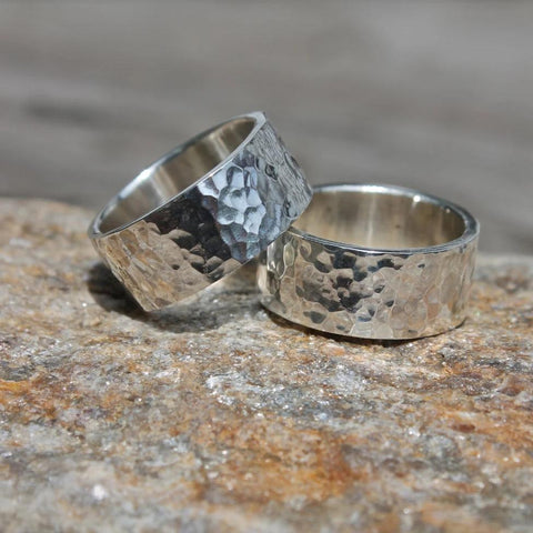 Wide Hammered Band in Silver