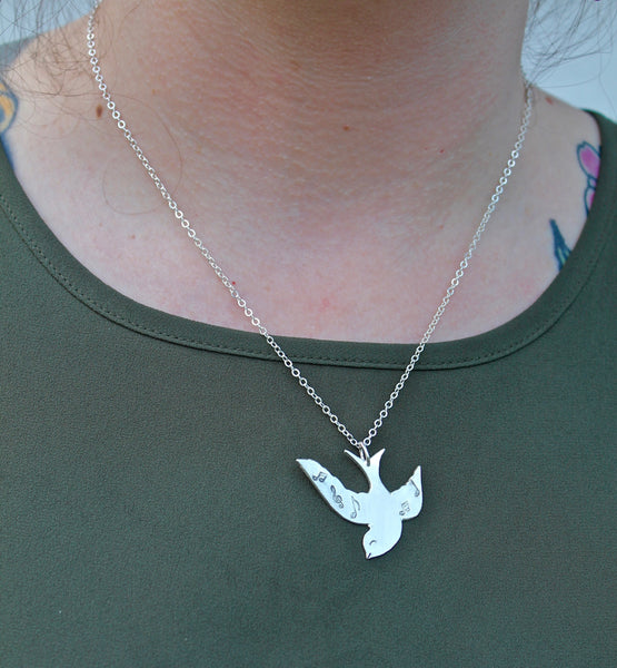 Songbird Bird Musical Notes Necklace in silver