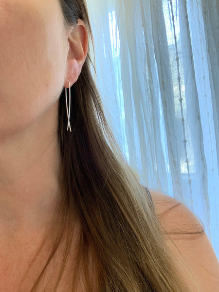 Threader Ribbon Earrings in Silver Gold and Rose Gold