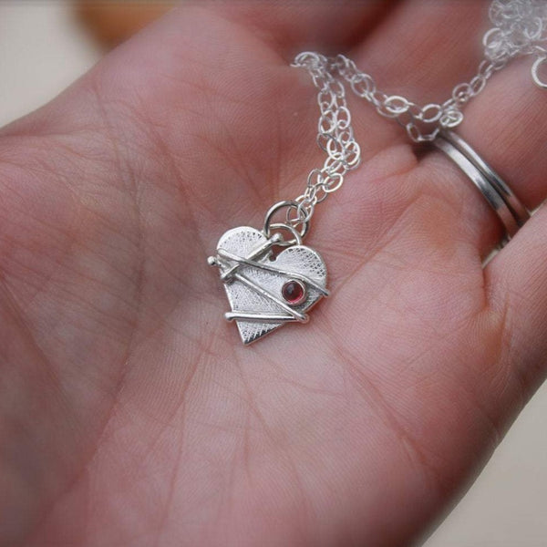 Small Mended Heart with Garnet