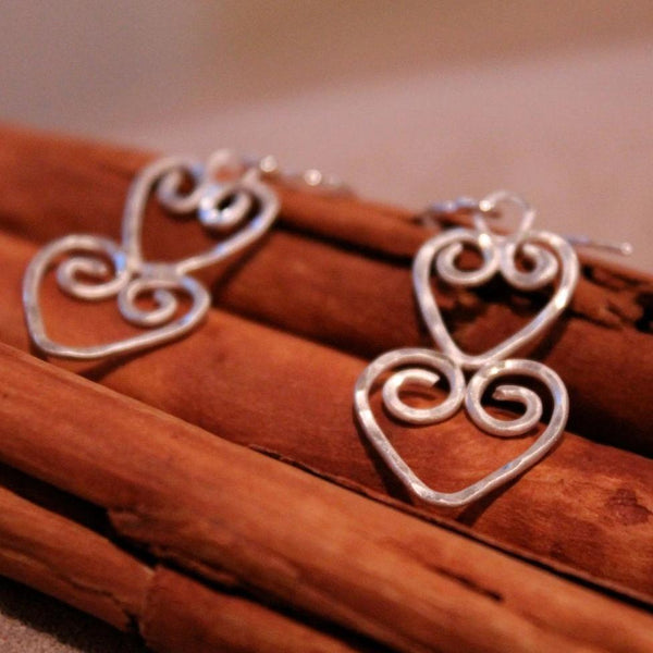 Double Hearts Silver Earrings