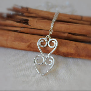 Double Hearts with hammered texture Necklace