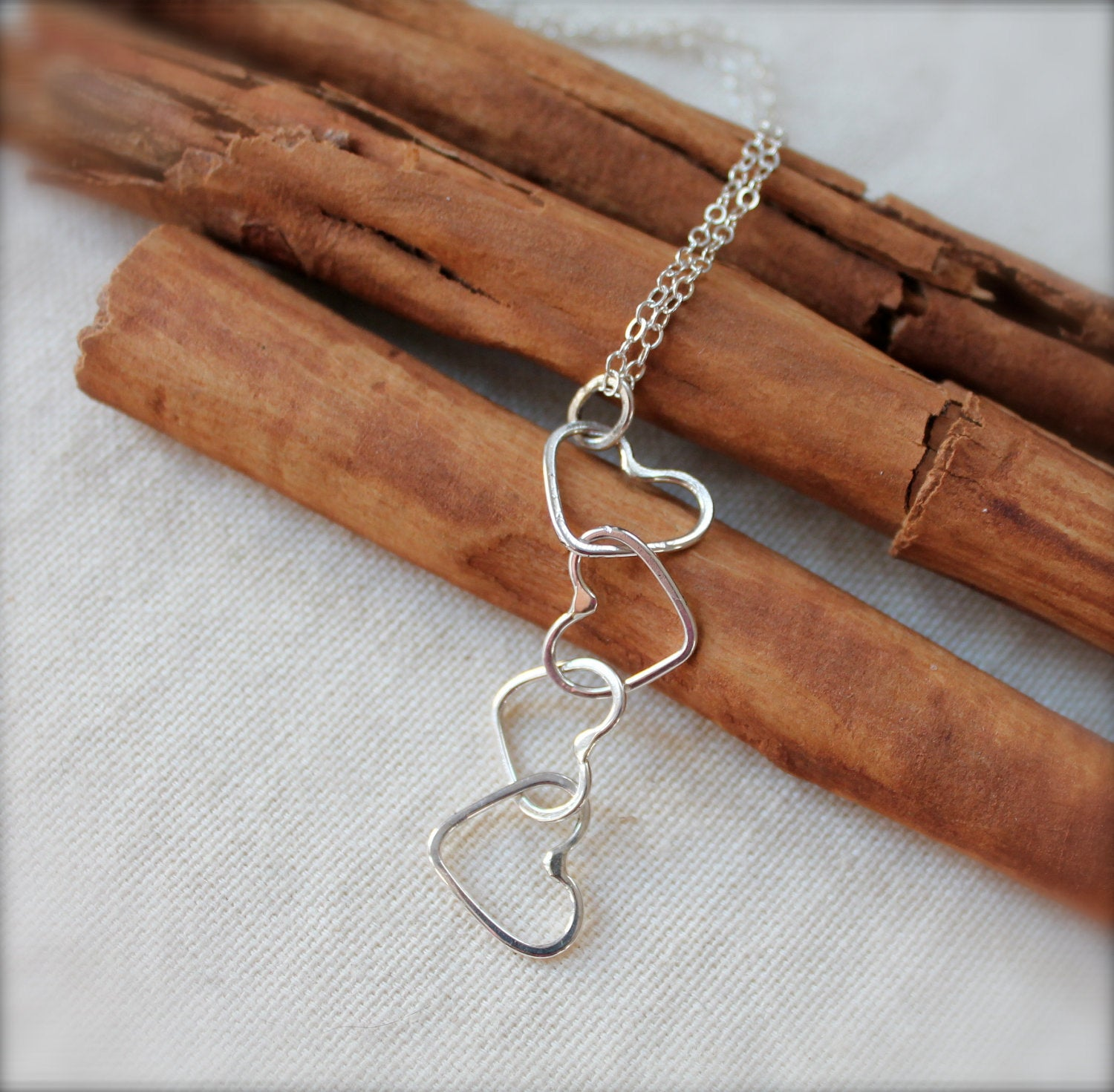 Linked Hearts Silver Necklace