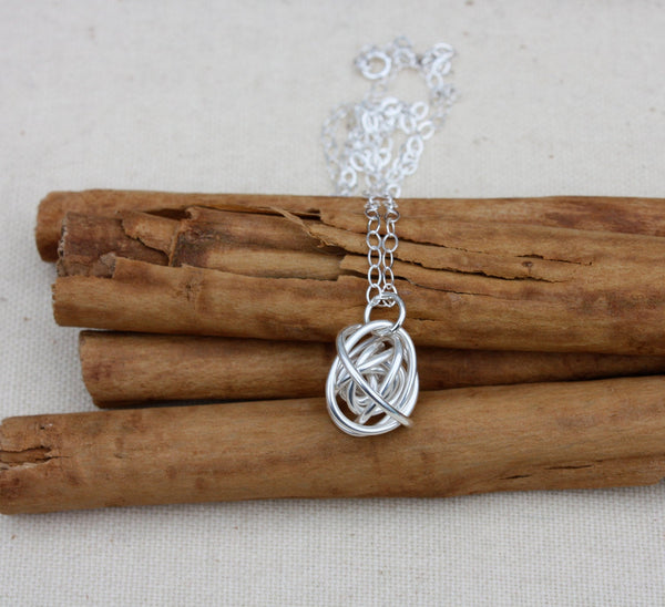 Silver Tumbleweed Knot Necklace