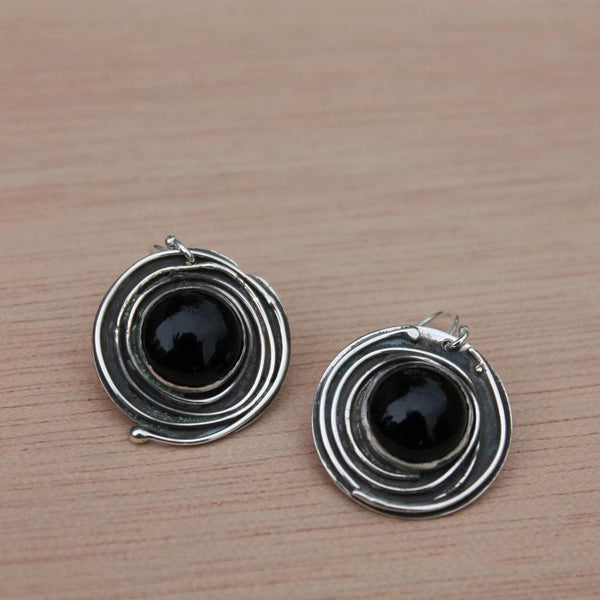 Black Onyx Circle Earrings