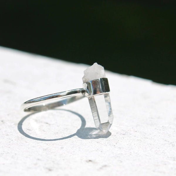Large Raw Quartz Crystal Point Ring
