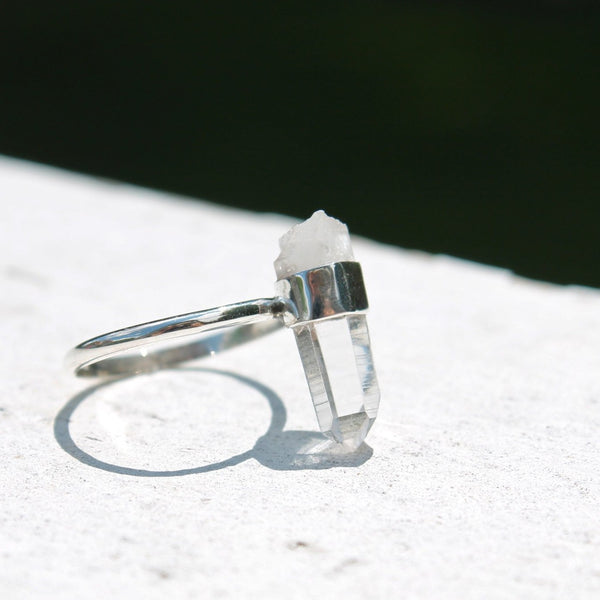 Crystal Point Ring in Sterling Silver Minimalist Raw Stone