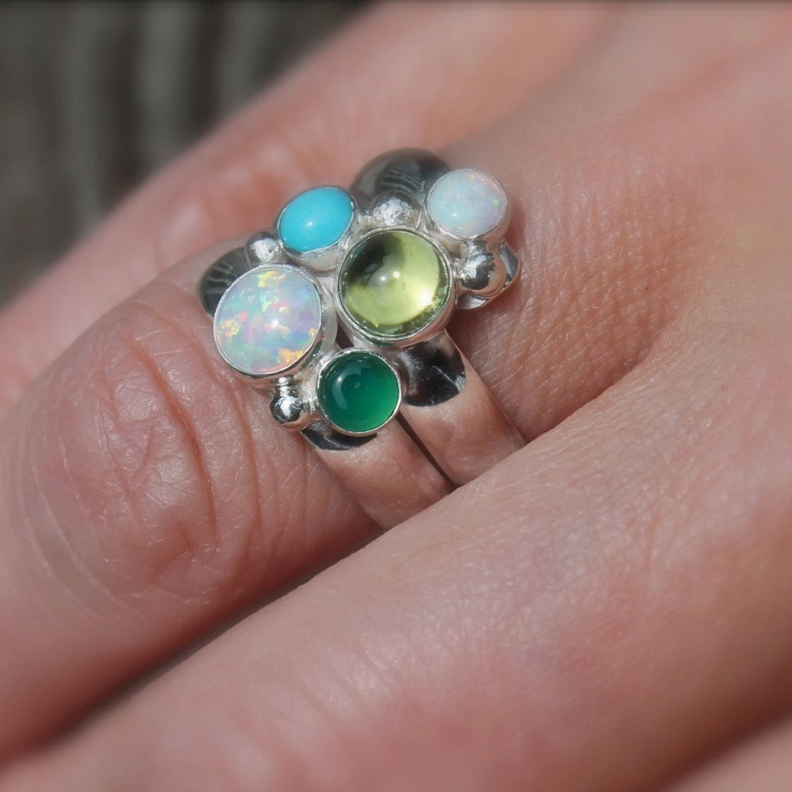 Graduated Sizes Birthstones Fairy Tale Ring in Silver