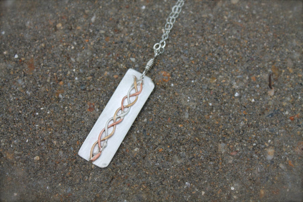 Silver Copper Gold Braid Design Necklace