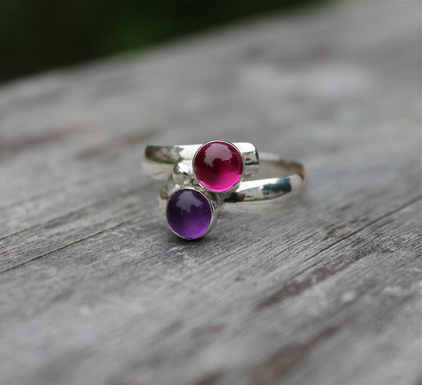 "Two Stone Birthstone Ring ""Fairy Tale Ring"""