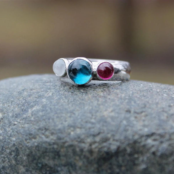 Three Stones Ring Band in Silver