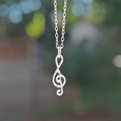 Treble Clef Music Note Necklace in Silver Pendant