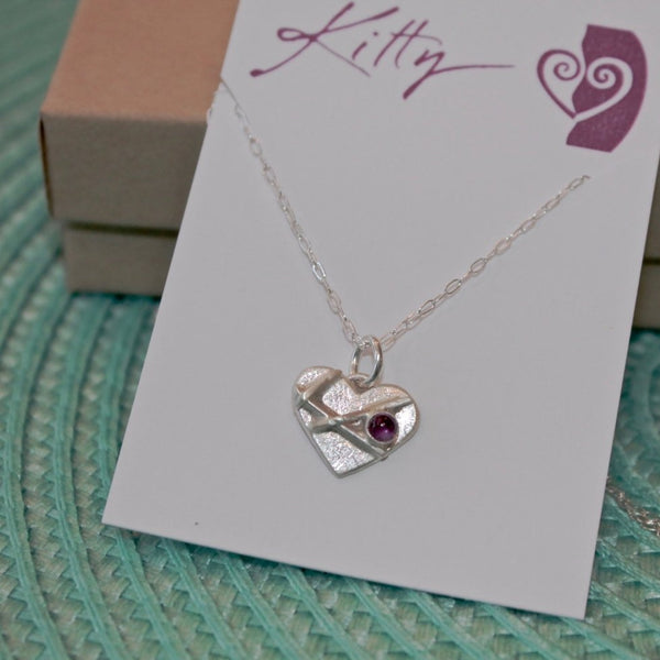 Small Mended Heart with Amethyst