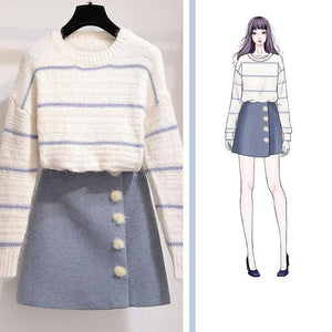 """BREE"" SWEATER AND SKIRT SET"