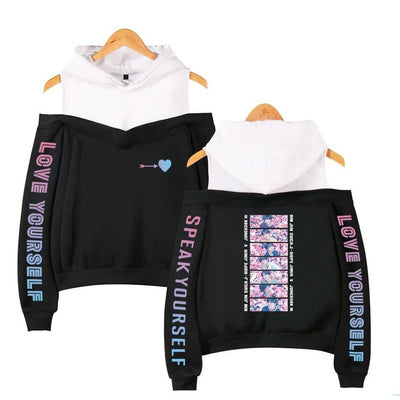 """BTS LOVE STRUCK"" OFF-SHOULDER HOODIE"