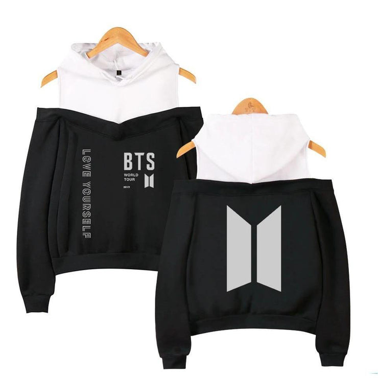 """BTS LOVE YOURSELF WORLD TOUR"" OFF-SHOULDER HOODIE"