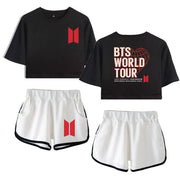 """BTS MAP OF THE SOUL"" CROP TOP AND SHORTS"