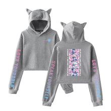 "Load image into Gallery viewer, ""BTS LOVE STRUCK"" CAT EAR HOODIE"