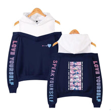 "Load image into Gallery viewer, ""BTS LOVE STRUCK"" OFF-SHOULDER HOODIE"