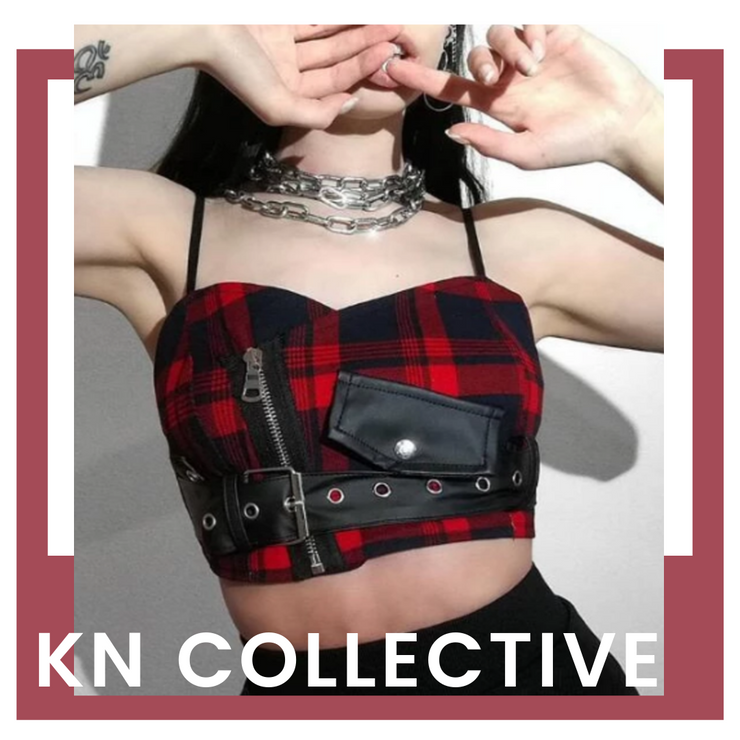 """CAPRICE"" BUCKLED PLAID CROP TOP"