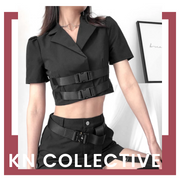 """COLLARED BUCKLE"" CROP TOP"