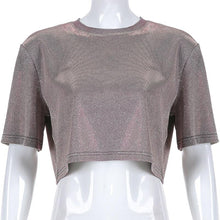 "Load image into Gallery viewer, ""GLITTER & GLITZ"" CROPPED TEE"