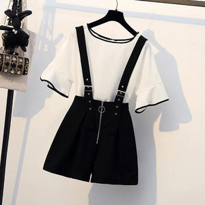 """GIANNA"" SHIRT AND SUSPENDER SHORTS SET"