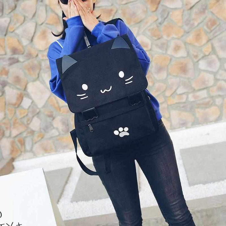 """KITTY CAT"" CANVAS BACKPACK"