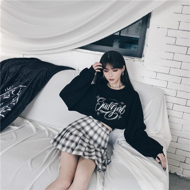 """SAD GIRL"" VELVET PULLOVER SWEATER"