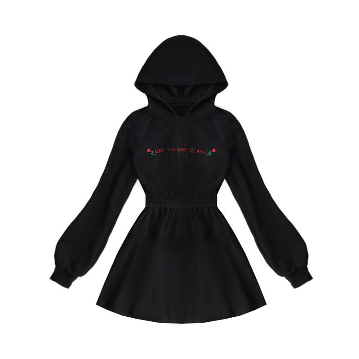 """LOVE IS A LOSING GAME"" HOODED DRESS"