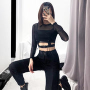 """BUCKLED MESH"" CROP TOP"