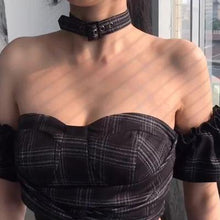 "Load image into Gallery viewer, ""ARABELLA"" PLAID CORSET CHOKER CROP TOP"