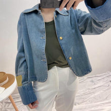 "Load image into Gallery viewer, ""PEEKABOO"" DENIM JACKET"