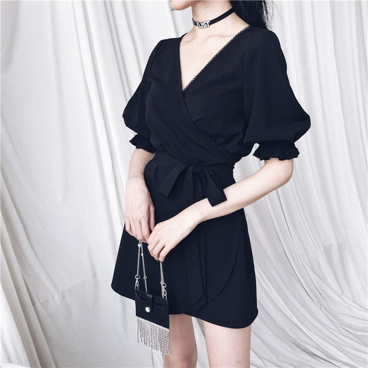 """ROMANTIC FRENCH"" PUFF SLEEVE DRESS"