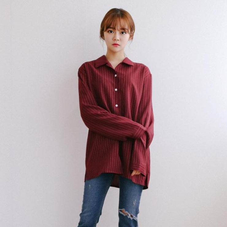 """RED WINE"" STRIPED SHIRT"