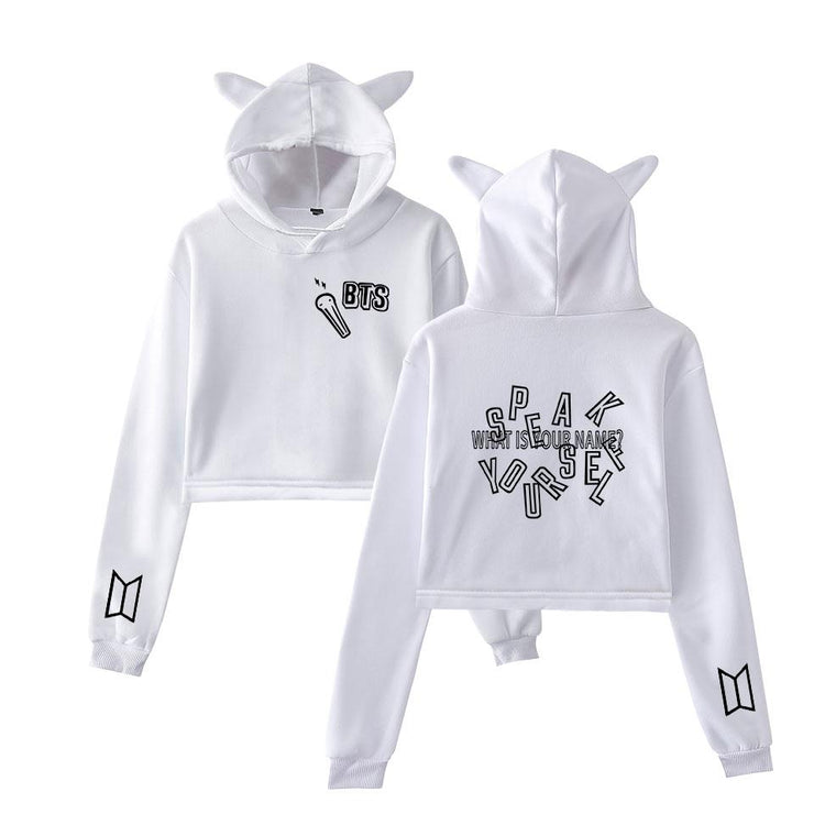 """BTS WHAT IS YOUR NAME"" CAT EAR HOODIE"