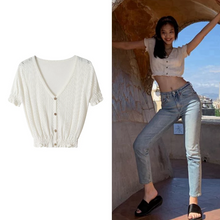 "Load image into Gallery viewer, ""WHITE BELLE"" CARDIGAN BLOUSE"