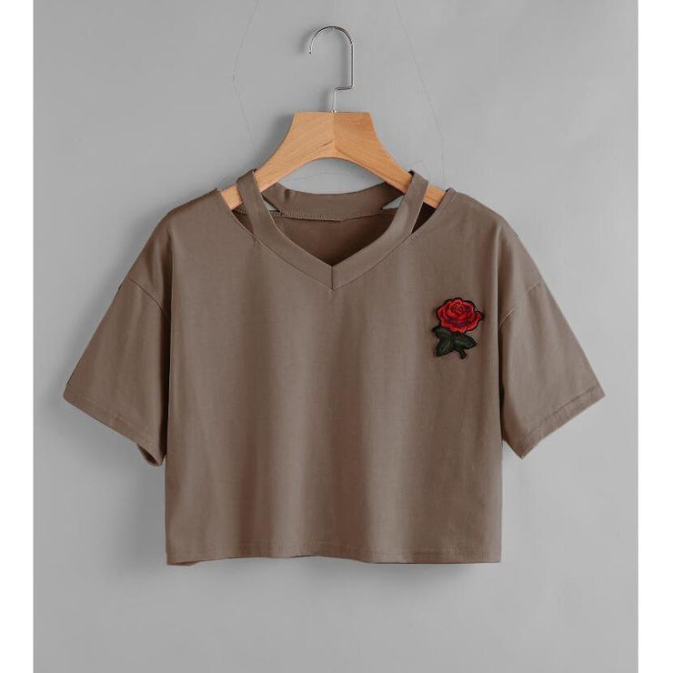 """TAKE THIS ROSE"" V CROP TOPS"