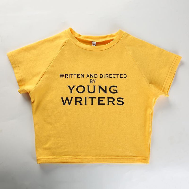 """YOUNG WRITERS"" CROP TOP"