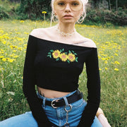 """SUNFLOWERS"" LONG-SLEEVE CROP TOP"