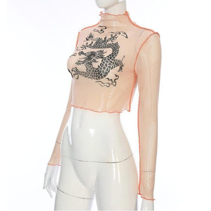 """CHINESE DRAGON"" MESH CROPPED LONG SLEEVE"