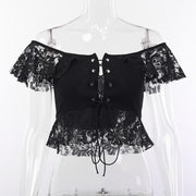 """GRUNGE LACED"" CROP TOP"