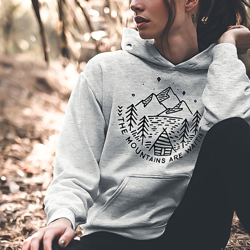 "Damen Hoodie ""The Mountains Are Waiting"""