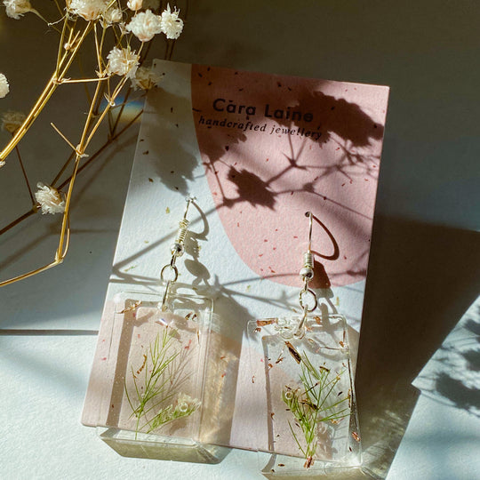 Silver + Sprig Drop Earrings
