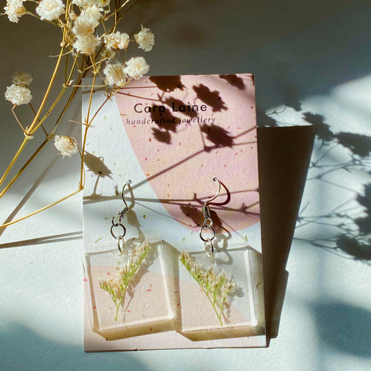 Pressed Flower Drop Earrings